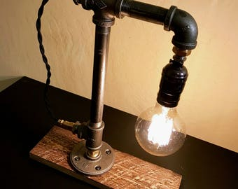 Wood desk lamp etsy for Gas pipe desk lamp