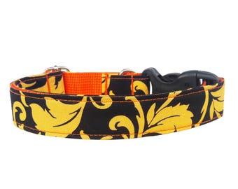 Dog Collar, Yellow Black Dog Collar, Girl Dog Collar, Boy Dog Collar,Dog Collar Flower, Dog Collar with Flower