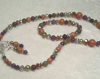 Jade and Amethyst Rust 3 piece Necklace, Bracelet and Earring set.