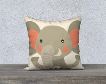 """Cover very decoration child room-baby gift pillow cover cushion Panel """"Elephantoo"""" cushion for children yellow fabric"""