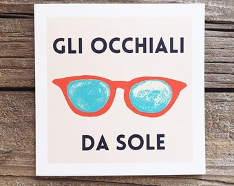 Sunglasses Greeting Card, Italian Greeting Card, Blank Greeting Card