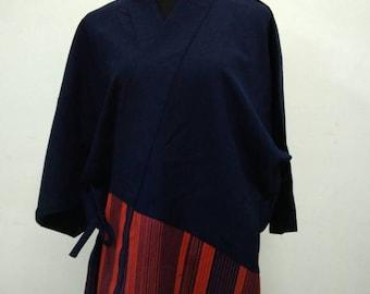 Japanese haori kimono red blue stripe kimono jacket /kimono cardigan/kimono robe/#040