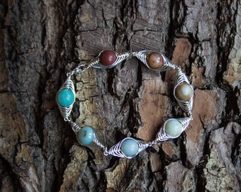 Amazonite silver wire wrapped link bracelet