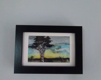 Framed original watercolour painting, Pine at dusk
