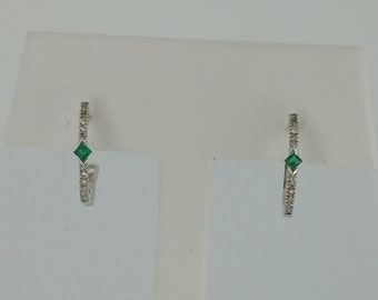 10KT White Gold .07ctw Emerald and .12ctw Diamond Hoops