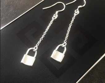 Sterling Silver Padlock Earrings