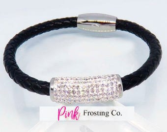 Woman's Black Leather/Silver Plated/Cubic Zirconia Bangle
