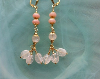 Earrings for the princess of pink peruvian opals and quartz smooth and shimmering