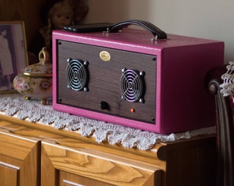 Boombox Wood Speaker Hi-Fi Vintage Handmade Made in Italy Radio Audio amplifier Home Design wood mahogany Bluetooth Portable Pink Braun