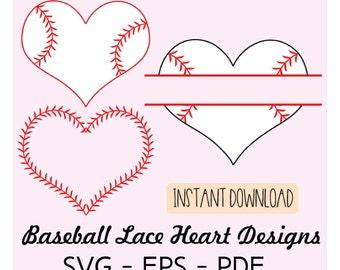 Baseball Lace Heart Bundle  SVG EPS PDF  Files - Commercial Use - Cut files