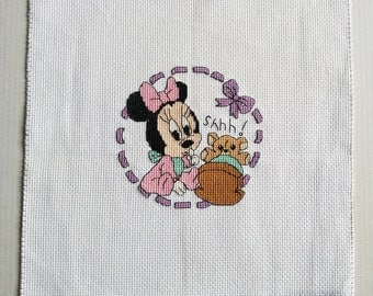 Completed Cross Stitch, Unmounted, Unframed - Minnie with Teddy in Crib