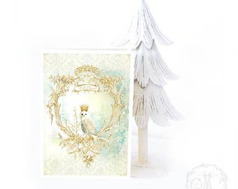Owl, Christmas card, let it snow, holiday card, woodland, forest, owl card, white Christmas, blank inside