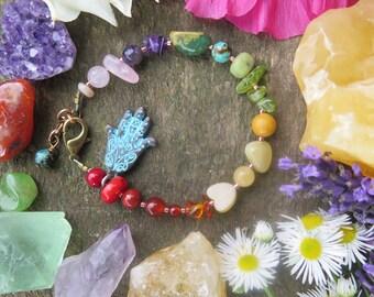 Rainbow Stone Bracelet - Turquoise Hamsa -  Gemstones Jewelry -  Summer Fashion Wanderlust - Gypsy Bohemian - Hippie Hippy Chakra - Boho