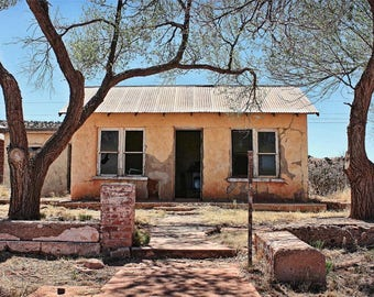 Abandoned Home Photograph - 8x12 Route 66 Documentary Art - Deserted Parsonage Photo - Southwestern Architecture - Roadside Roadtrip America