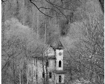 Abandoned Church Photograph - Black & White Abandoned Building Photo Art - Wooden Clapboard Forsaken Church Photo by Liberty Images