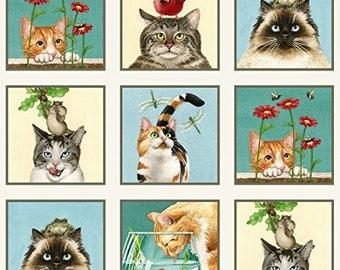 Curious Cats Cream Blue Elizabeth Studio Panel