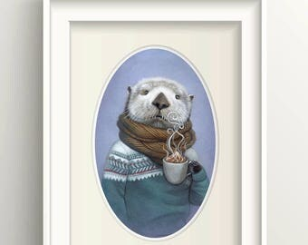 "Sea Otter Art, Otter with Hot Cocoa Painting, Fair Isle Sweater Print, Animal Art Print, ""Wallace"""