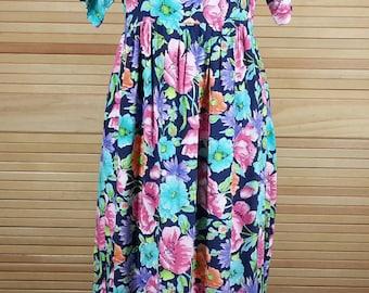Vintage 80s maxi dress Diane Von Furstenberg floral print rayon size S small chest 38