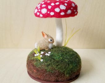 OOAK Woodland Scene Miniature Rabbit Bunny Amanita Mushroom Toadstool Sculpture Needle Felted Wool Pin Cushion Pincushion Forest Floor Scene
