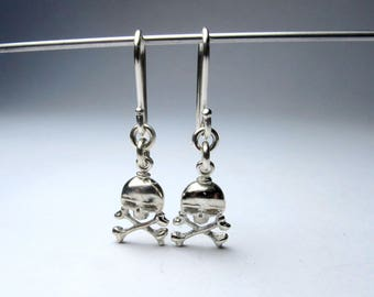 skull and bones earrings solid sterling silver hoops or wires option