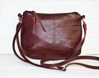 mini sling bag, burgundy leather purse, reclaimed leather, small purse, purse, small purse cross body bag, reclaimed, small messenger, bag