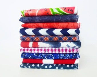 4th of July Cloth Napkins Patriotic Fourth of July Flannel Napkins Unpaper Towels Red White Blue Picnic Napkins Americana Decor Summer Party