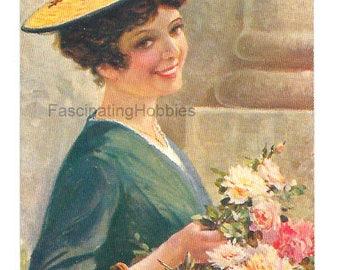 "Elegant WOMAN selling FLOWERS on South of France "" Bouquetière"" - Vintage French written colorful Postcard  - Raphael TUCK & Fils, Paris"