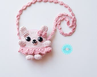 Small Bunny crossbody shoulder bag - crochet knit handmade blush pink cute kawaii sweet kid little girl wallet coin purse pouch photo prop