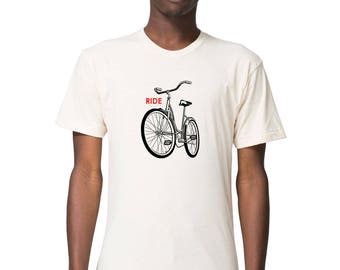 Organic bike shirt, bicycle shirt, bike tshirt, bike tee, bicycle tee, bicycle tshirt, mens bike shirt, organic clothing, bike lover gift