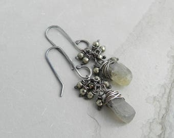 Rustic Rough Cut Stone Labradorite and Pyrite Gemstone Dangle Earrings
