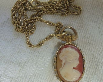 Vintage Cameo Necklace - Costume Jewelry - Mid Century REDuCED