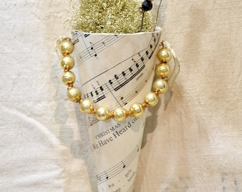 Christmas Victorian Paper Cone * Angels We Have Heard On High * Christmas ornament * vintage paper * shabby chic * handmade
