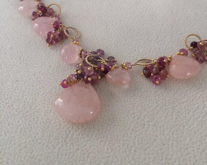 Pink Aquamarine Gemstone Necklace in Gold Vermeil with Mystic Pink Quartz, Pink Tourmaline, Pink Sapphire, Spinel