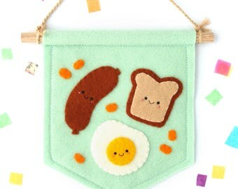 Breakfast Food Banner, Sausage Toast Egg Beans, Felt Flag, Foodie Gift