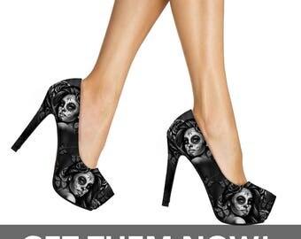 Calavera Sugar Skull High Heels Women's Shoes - Calavera Design Day of the Dead Sugar Skulls High Heel Shoes