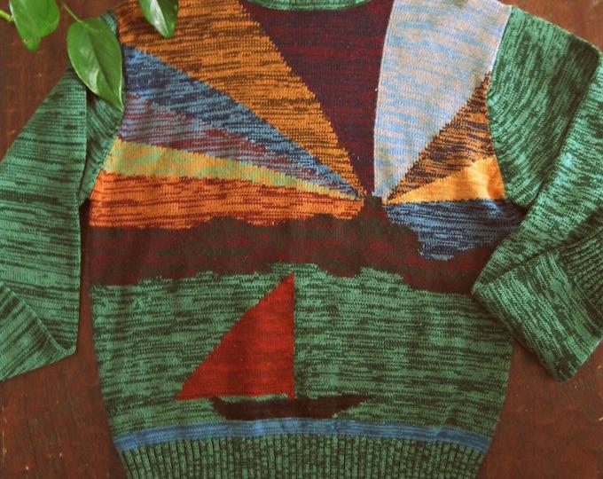 Vintage 70s Lighthouse turtleneck sweater / spacedyed Unisex Novelty knit sweater