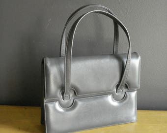 Vintage Gray Leather Purse - Small Grey Leather Handbag