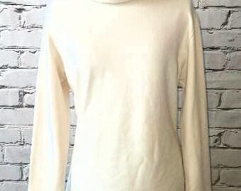 Ivory Funnel Neck Sweatshirt with Navy Print