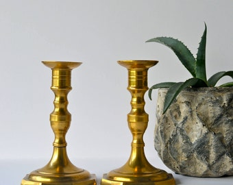 Vintage Solid Brass Candlesticks Set Of 2 Patina Candle Holders Modern Retro (1960s)