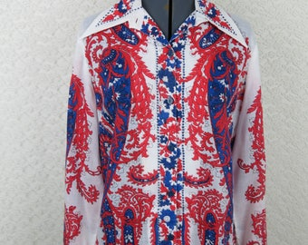 1970s VERA Blouse - Red White Blue Paisley Button Down - Bust 41