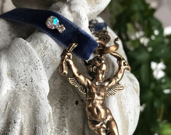 guardian angel - necklace bronze cherub blue velvet ribbon gemstone book chain vintage inspired assemblage, the french circus