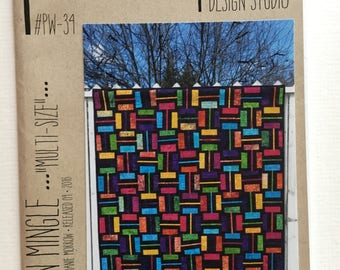"Modern Mingle multi-size quilt pattern - Joanie Morrow for Patternworkz - 5 sizes: 48"" x 60"" to 96"" x 108"""