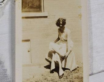 1920s Lingerie-Roaring 20s Snapshot-Dallas Texas--Vintage Sepia Photograph-Woman Model-Female Fashion