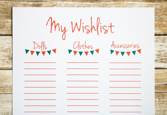 Printable Christmas List, Christmas Wishlist, Doll Printable, Paper  Christmas List, Christmas Printable, Holiday Wishlist Printable