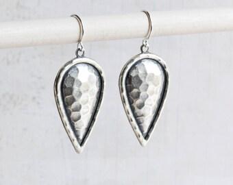 Antiqued Silver Teardrop Hammered Look Dangle Earrings