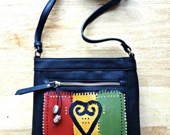 Hand Painted Purse Crossbody Brown Black Adinkra Symbol Sankofa Satchel Handbag