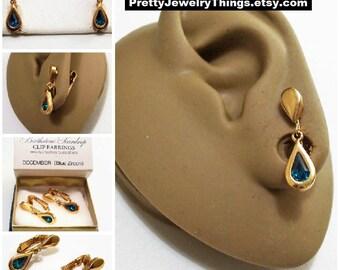 Avon Blue Zircon Crystal Teardrop Clip On Earrings Gold Tone Vintage 1977 Austrian Glass December Birthstone Glass Stone Bezel Set Wide Edge