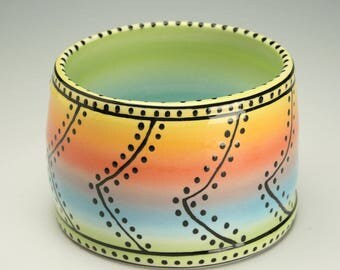 Hand Thrown, Air Brush Pottery Bowl, Serving / Candy / Pens Ceramic Bowl, Party Bowl, Thick Walled and Beautiful