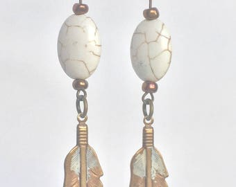 Brass feather and stone dangle earrings
