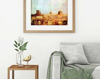 """Monument Valley Print: Mixed Media Photography, Utah Print Southwest Print Western Print Red Rock, 8""""x8"""" or 12""""x12"""" print, """"Monument Valley"""""""